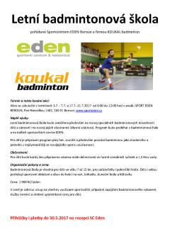 badminton EDEN letní škola 2017