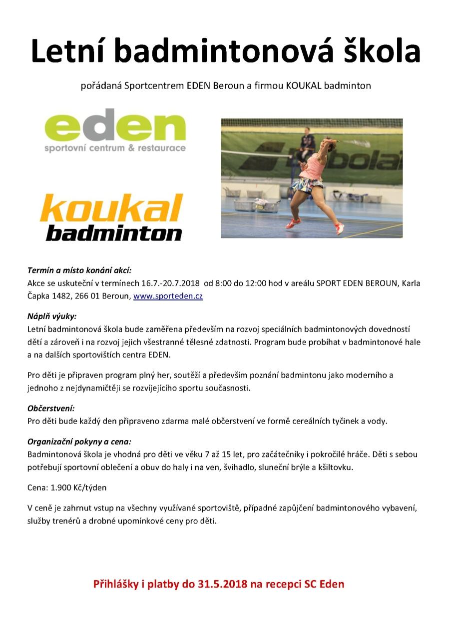 badminton EDEN letní škola 2018