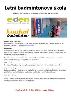 badminton EDEN letní škola 2019